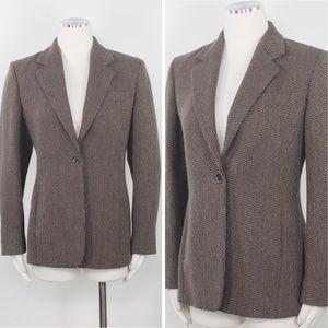 Max Mara Cashmere Tweed Brown Long Blazer Suit - 8